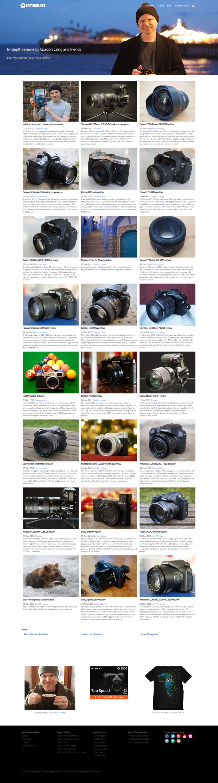 cameralabs.com website homepage
